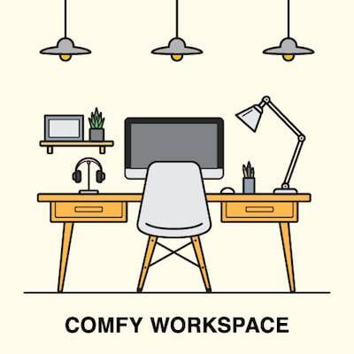 Graphic of a comfortable home workspace. Stay Motivated pbs rewire