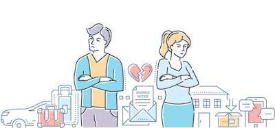 Illustration of young man and woman separated by a broken heart. Healthy Divorce pbs rewire