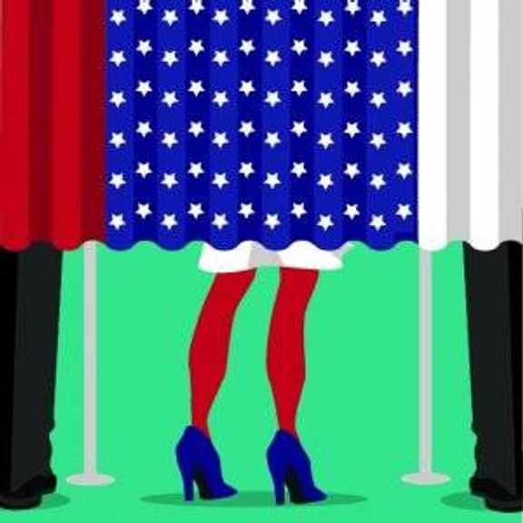 Illustration of woman inside an election booth. Upcoming election pbs rewire
