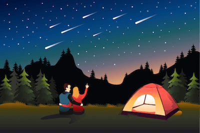 Illustration of couple pointing up at stars next to their campsite. Adventure pbs rewire