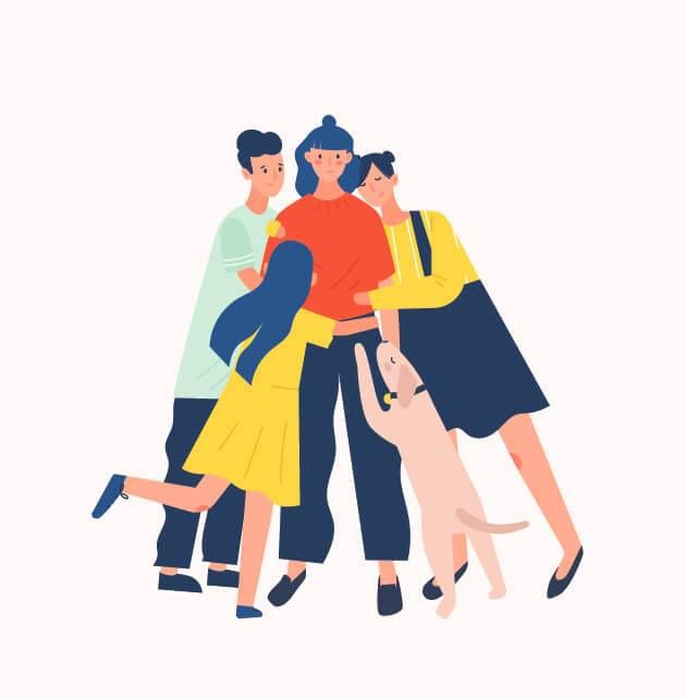 Illustration of a woman being hugged by her support network. Sexual Assault pbs rewire