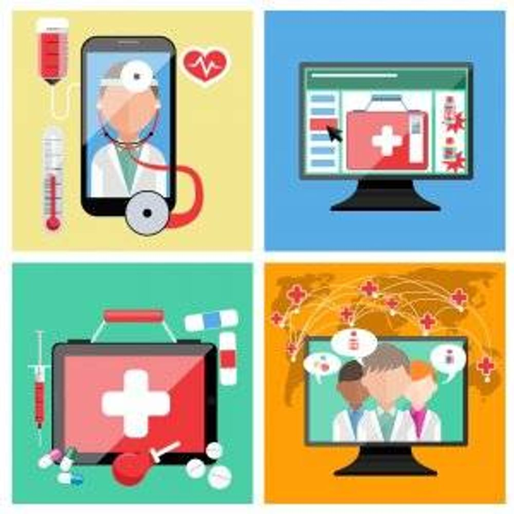 Graphic showing different ways one can connect with a medical professional electronically. Telehealth pbs rewire