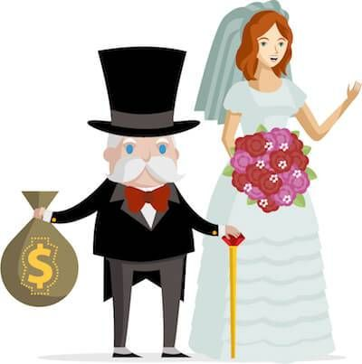 Illustration of younger woman marrying older man with large money bag. Age Gap Relationships pbs rewire