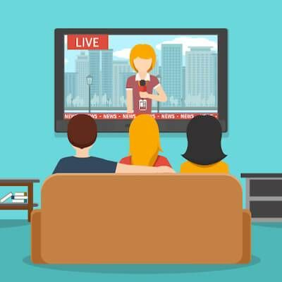 Illustration of three friends watching the news. Make a difference pbs rewire