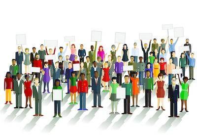 Illustration of many people protesting something. Boycotts pbs rewire