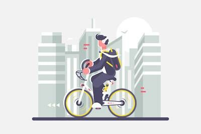 Illustration of man riding bicycle while listening to podcast. Change careers pbs rewire