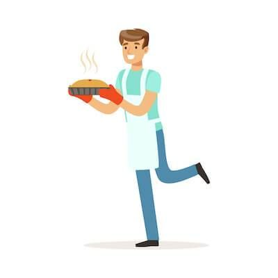 Illustration of man holding a pie he baked. Holiday Gifting pbs rewire
