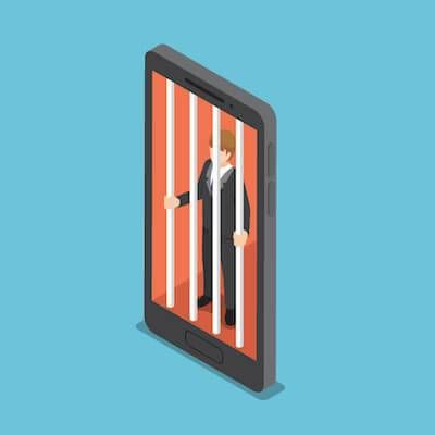 Illustration of man behind bars inside his smartphone. Stress pbs rewire