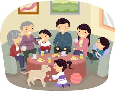 Illustration of extended family hanging out in a living room. Parents Undermine Your Parenting pbs rewire