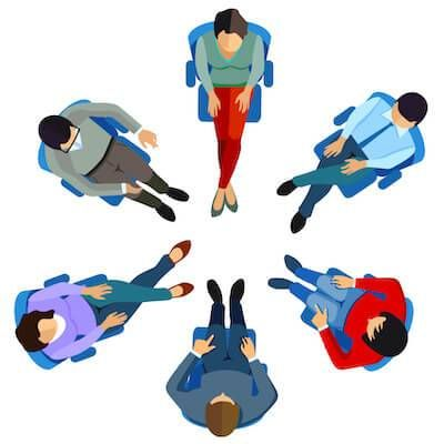 Illustration of support group sitting in circle. Alcohol pbs rewire