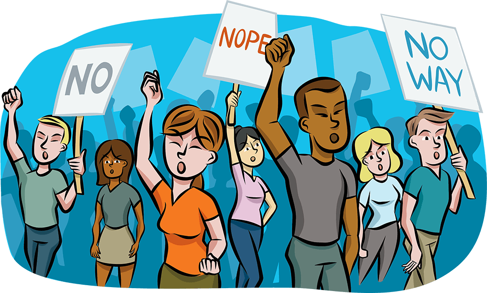 Illustration of a mixed group of people holding up