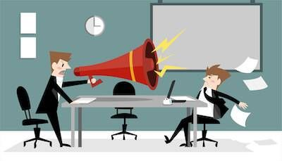 Coworker yelling through a megaphone at peer. Give feedback pbs rewire
