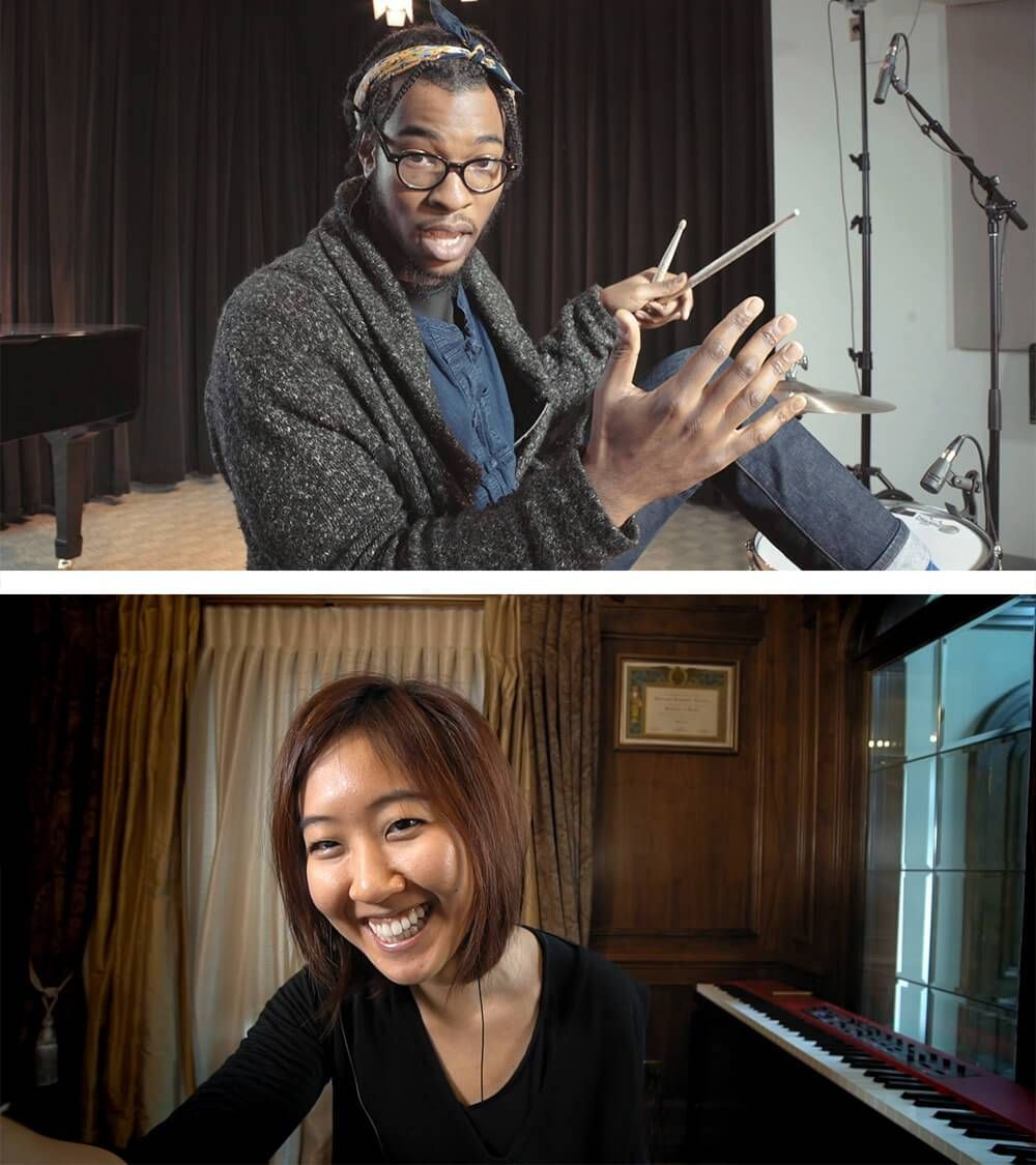 Split screen photograph, top half shows African American man with drum sticks and bottom half shows an Asian American woman with a keyboard. Rewire PBS Sound Field