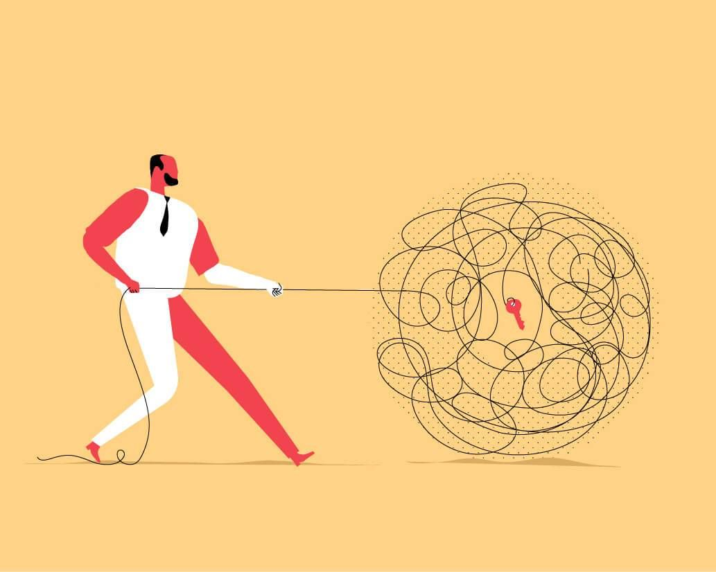 Illustration of man pulling on a string that tangled in a ball and at the center is a red key. Rewire PBS Living Mindset