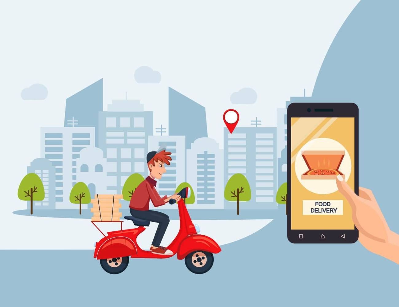 Illustration of a pizza delivery man on a scooter and a hand holding a phone, ordering on an app. Rewire PBS Work Tipping