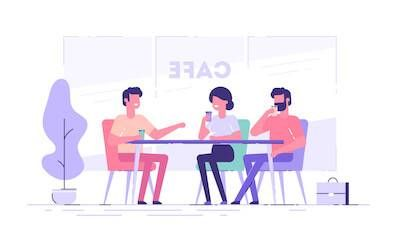 Illustration of friends getting coffee at a cafe. Recommending a Friend pbs rewire
