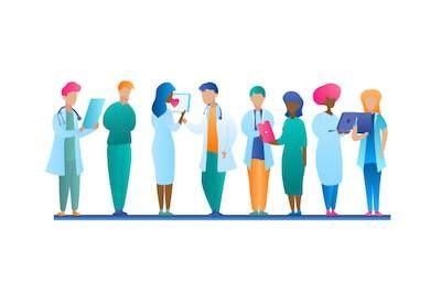 Illustration of diverse medical professionals. Race Shapes Our Scientists pbs rewire