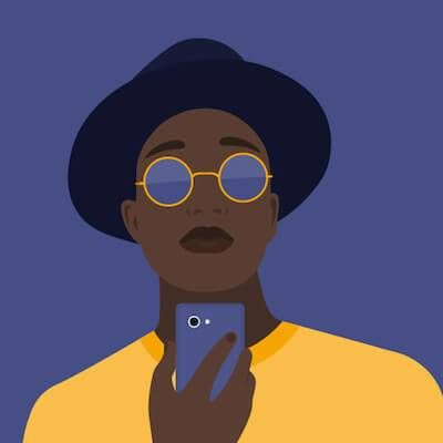 Illustration of African-American person looking at their iphone. Finsta pbs rewire