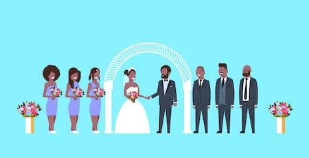 Illustration of African-American wedding party. Bridesmaid pbs rewire