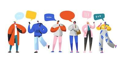 Illustration of friends on their smartphones talking to each other. Find a Roommate pbs rewire
