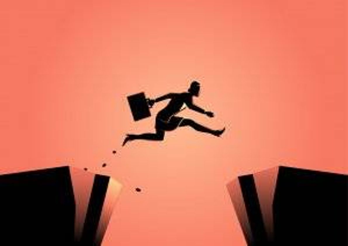 Illustration of businesswoman jumping from over a ravine. Apply For a Job pbs rewire