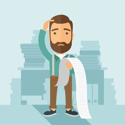 Illustration of man looking at his bills with concern. Student Loan Debt pbs rewire
