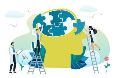 Illustration of doctors putting pieces of brain puzzle back together. Toxic pbs rewire