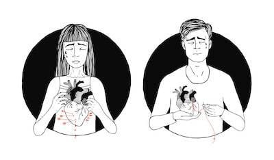 Illustration of man and woman holding their hearts in their hands. Breakup Coach pbs rewire