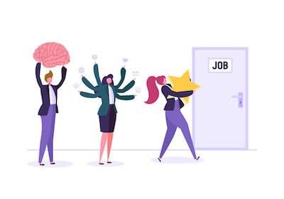 Illustration of three people bringing different things to a new job. Ideal Salary pbs rewire