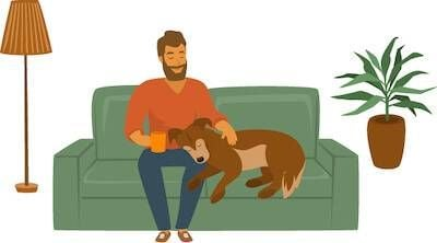 Illustration of man sitting on a couch with his dog. Expensive Pet Surgery pbs rewire