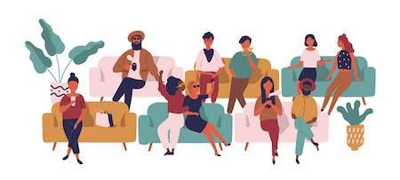Illustration of single and coupled people sitting on couches. Doing Love Differently pbs rewire