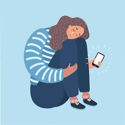 Illustration of woman crying after reading bad news on her smartphone. pbs rewire