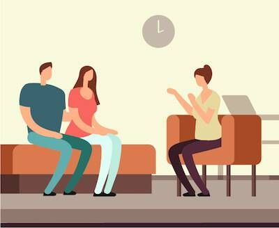 Illustration of couple talking to psychologist in couples therapy. pbs rewire