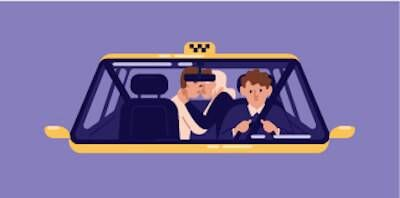 Illustration of couple kissing in the back seat of a taxi. Date Around pbs rewire
