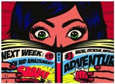 comic book illustration of girl reading comic. geek.