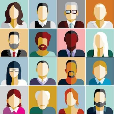 Illustration of portraits of many people of different ages and races. Boss of Someone Older pbs rewire