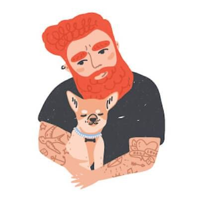 Illustration of red headed man with tattoos holding his chihuahua. Pet Ownership Costs pbs rewire