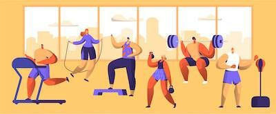 Illustration of different people working out in a gym. Seasonal Depression pbs rewire