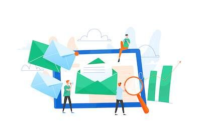 Illustration of people walking around a tablet checking their e-mails. Email Smarter pbs rewire
