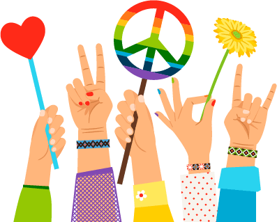 Illustration of several hand holding peace symbols. Pacifist pbs rewire