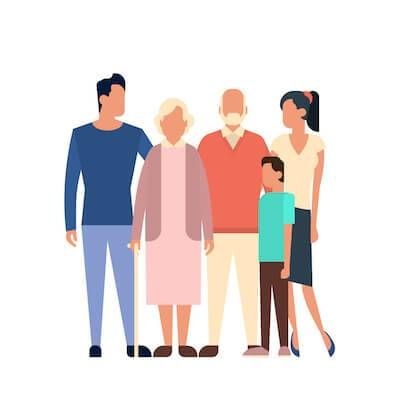 Illustration of family embracing grandparents. Overbearing Parents pbs rewire