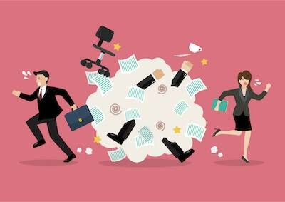 Illustration of a man and woman running from a scuffle in the office. Salary Cut pbs rewire