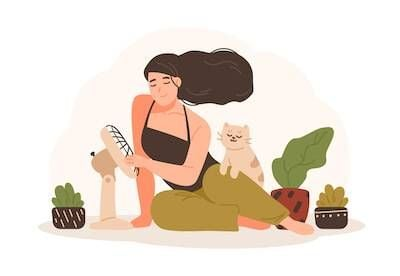 Illustration of woman sitting next to a fan with her cat. Air Conditioning pbs rewire