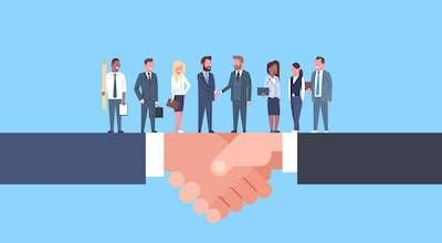 Illustration of diverse professionals standing on two white shaking hands. Get Hired pbs rewire