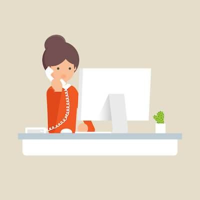 Illustration of woman talking on her desk phone at work. Phone Call Anxiety pbs rewire