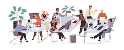 Illustration of office workers working. Tell My Boss I Have Depression pbs rewire