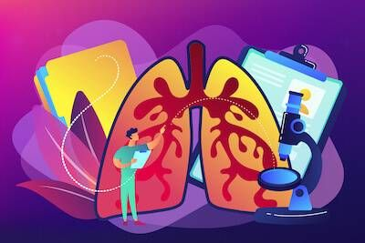 Illustration of lungs being examined by doctor. Chronic Illness pbs rewire