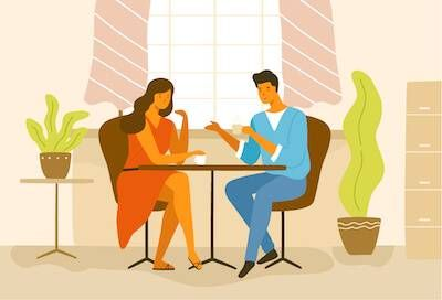 Illustration of couple having coffee together at a cafe. Dating Multiple People pbs rewire