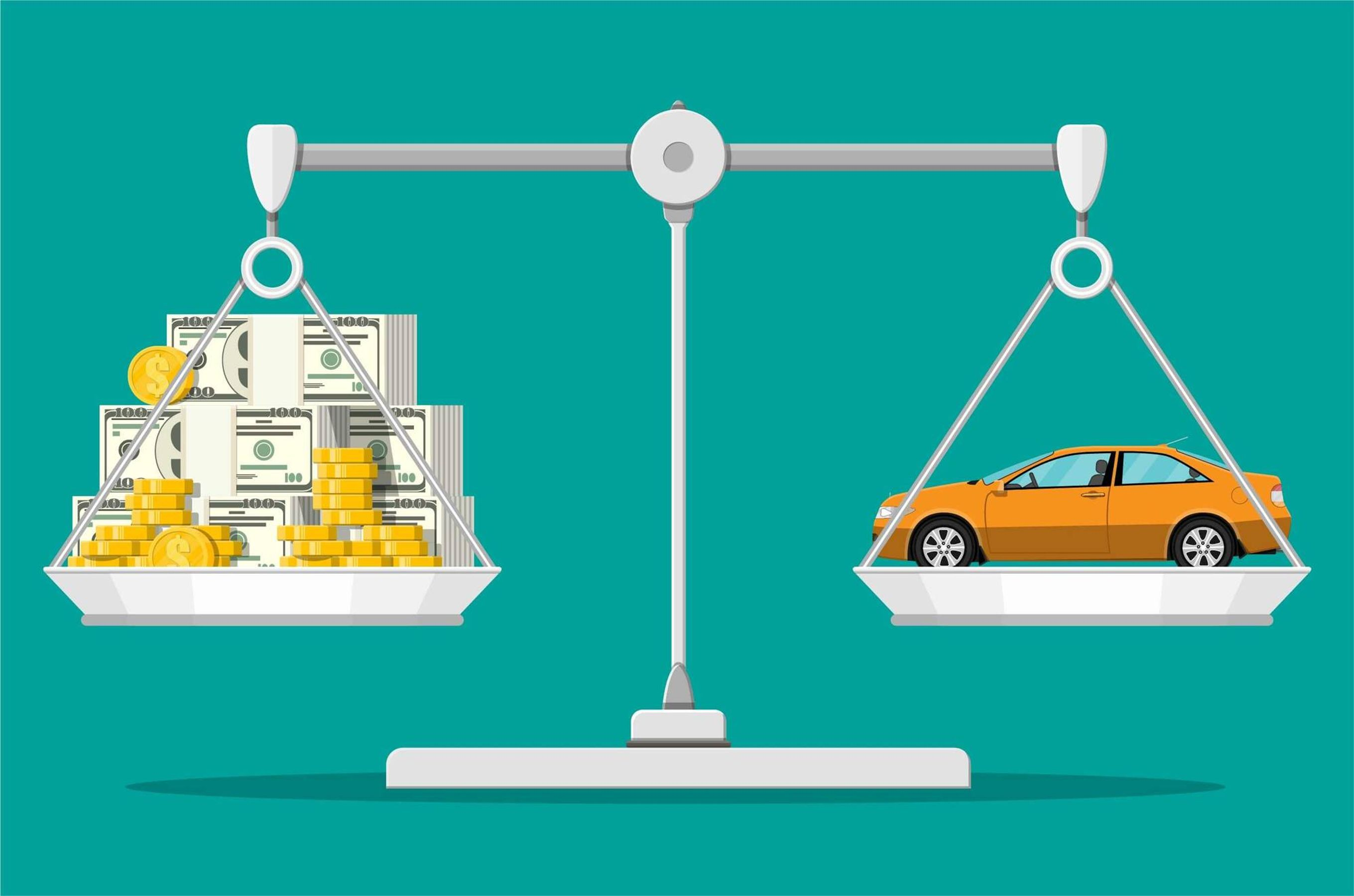 Illustration of a scale with money on one side and a car on the other. Rewire PBS Living Mechanic