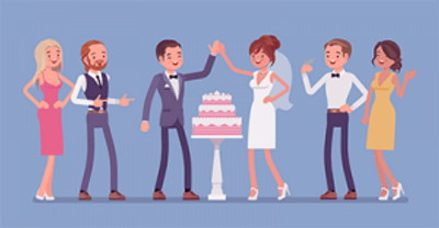 wedding guests celebrate with bride and groom. PBS Rewire Love wedding plus-one etiquette